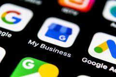Google My Business application icon on Apple iPhone X screen close-up. Google My Business icon. Google My business application. So. Sankt-Petersburg, Russia royalty free stock photography