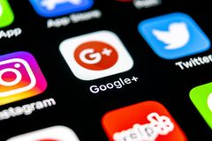 Google plus application icon on Apple iPhone X smartphone screen close-up. Google plus app icon. Google . Social media icon. Socia. Sankt-Petersburg, Russia royalty free stock images