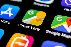 Google Street View application icon on Apple iPhone X screen close-up. Google StreetView app icon. Google Street view application. royalty free stock photography