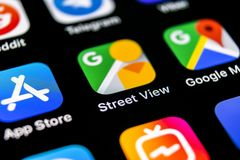 Google Street View application icon on Apple iPhone X screen close-up. Google StreetView app icon. Google Street view application. stock photography