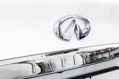 Infiniti metallic logo closeup on the Infiniti car displayed. Detail of the infiniti car. Car detailing. Sankt-Petersburg, Russia, September 22, 2018: Infiniti royalty free stock images