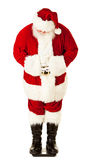 Sankt: Santa Checking Weight auf Skala Stockfoto