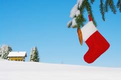 Sankt-Socke, die draußen vom Weihnachtsbaum hängt Lizenzfreie Stockfotografie