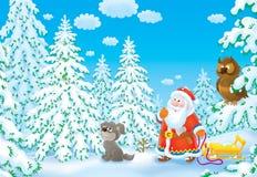 Sankt sucht nach einem Weihnachtsbaum lizenzfreie abbildung