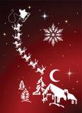 Sankt und Ren im HimmelsWeihnachtsabend lizenzfreie abbildung