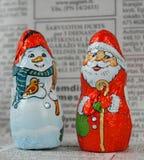 Sankt und Schnee-Mann Stockbilder