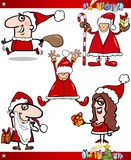 Sankt und Weihnachtsthema-Karikatur-Set Lizenzfreie Stockfotos