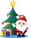 Sankt unter Weihnachtsbaum mit Geschenken Lizenzfreie Stockfotografie