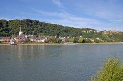 Sanktt Goar, Rhine flod, Tyskland fotografering för bildbyråer