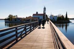 Sanktt Nikolaos kloster. Porto Lagos område på Thrace, Grekland. Royaltyfria Foton