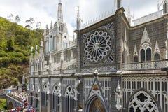 Sanktuarium Lasu Lajas szczegóły fasadowy Ipiales Kolumbia obraz stock