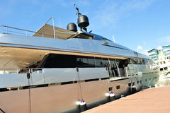 Sanlorenzo super luxury yacht at Yacht Show Stock Images