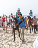 Sanlucar Beach Horse Races Stock Photography