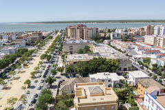 Sanlucar de Barrameda aereal sikt, Cadiz, Spanien royaltyfri bild