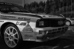 SANMARINO, SANMARINO - OTT 21, 2017: AUDI QUATTRO 1983 w starym bieżnego samochodu wiecu legenda 2017 sławny SAN MARINO dziejowy  Fotografia Royalty Free