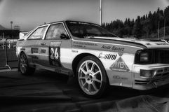 SANMARINO, SANMARINO - OTT 21, 2017: AUDI QUATTRO 1983 w starym bieżnego samochodu wiecu legenda 2017 sławny SAN MARINO dziejowy  Zdjęcia Stock