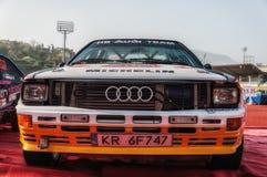 SANMARINO, SANMARINO - OTT 21, 2017: AUDI QUATTRO 1983 w starym bieżnego samochodu wiecu legenda 2017 sławny SAN MARINO dziejowy  Zdjęcie Stock