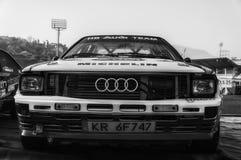 SANMARINO, SANMARINO - OTT 21, 2017: AUDI QUATTRO 1983 w starym bieżnego samochodu wiecu legenda 2017 sławny SAN MARINO dziejowy  Obraz Stock