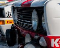SANMARINO, SANMARINO: - OTT 21, 2017 - FIAT 131 ABARTH 1977 bieżnego samochodu stary wiec legenda 2017 sławny SAN MARINO dziejowy Zdjęcia Royalty Free