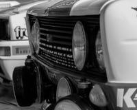 SANMARINO, SANMARINO: - OTT 21, 2017 - FIAT 131 ABARTH 1977 bieżnego samochodu stary wiec legenda 2017 sławny SAN MARINO dziejowy Zdjęcie Stock
