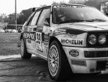 SANMARINO, SANMARINO - OTT 21, 2017: LANCIA DELTAint. 16V 1991 in oude raceauto verzamelt de LEGENDE 2017 beroemd San MARINO van  Royalty-vrije Stock Fotografie