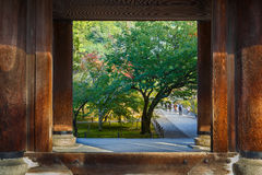 Sanmonpoort bij Tempel Nanzen -nanzen-ji in Kyoto Stock Foto's