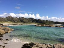 Sanna Bay in Scotland. Golden sands and Blue water stock photo