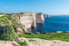 Sannap falezy w Gozo, Malta Zdjęcie Royalty Free