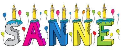 Sanne nome fêmea 3d colorido mordido que rotula o bolo de aniversário com velas e balões ilustração stock