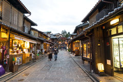 Sannen-Zaka Street, Kyoto. Kyoto, Japan - December 3, 2015: Tourists are enjoying on the Sannen-Zaka, Kyoto's famous preserved street on December 3 2015 which Stock Image