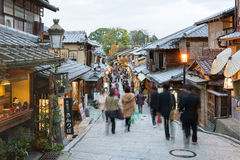 Sannen-Zaka Street, Kyoto. Kyoto, Japan - December 3, 2015: Tourists are enjoying on the Sannen-Zaka, Kyoto's famous preserved street on December 3 2015 which Royalty Free Stock Images