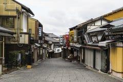 Sannenzaka三年倾斜和Ninenzaka两年倾斜是保存区在京都,日本 免版税库存照片