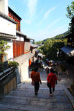 Sannenzaka (three-year slope) and Ninenzaka (two-year slope) are a preservation district in Kyoto, Japan Stock Photo