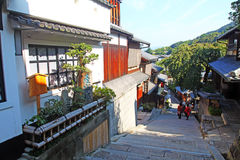 Sannenzaka (three-year slope) and Ninenzaka (two-year slope) are a preservation district in Kyoto, Japan Royalty Free Stock Image