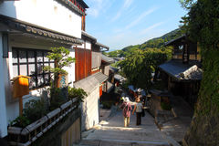 Sannenzaka (three-year slope) and Ninenzaka (two-year slope) are a preservation district in Kyoto, Japan Royalty Free Stock Photos