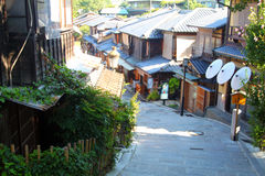 Sannenzaka (three-year slope) and Ninenzaka (two-year slope) are a preservation district in Kyoto, Japan Royalty Free Stock Photo
