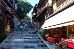 Sannenzaka (three-year slope) and Ninenzaka (two-year slope) are a preservation district in Kyoto, Japan Royalty Free Stock Photography