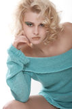 Sanny24. Model in green sweater with an interesting look. By Elle nova Stock Image