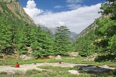 Sannyasins meditating adentro zazen en rangos de montaña himalayan Fotos de archivo libres de regalías