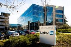 Sannyvale, CA, usa - Feb 1, 2018: Budynek LinkedIn Korporacja biuro Obrazy Stock