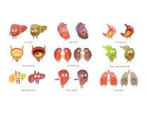 Sano contro l'illustrazione malata di Infographic degli organi umani Fotografie Stock