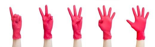 Sano, vitamine, vaccinazione, deposito medico, farmacia, recupero, concetto adeguato di nutrizione - segni fatti dei guanti medic fotografie stock