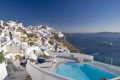 Sanorini pool, Greece. Romantic pool on the island of Santorini, Greece royalty free stock photo