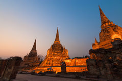 Sanphet di sri di phra di Wat nella notte Fotografia Stock Libera da Diritti