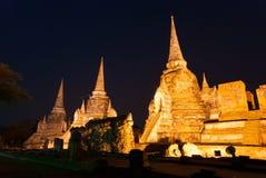 Sanphet di sri di phra di Wat nella notte Immagine Stock