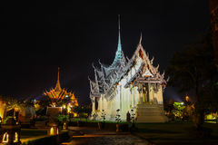 Sanphet Prasat宫殿,阿尤特拉利夫雷斯在古老泰国, Samutparkan,泰国 免版税库存照片