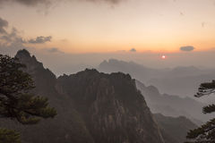 Sanqingshan mountain sunset scenery Stock Images