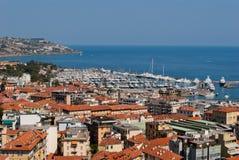 Sanremo市和港口视图 库存图片
