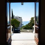 Sanremo, Italy, 2019: view of the mediterranean from the hotel veranda royalty free stock photography
