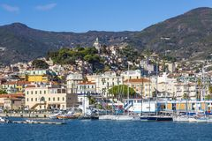 Sanremo, Włochy †'Listopad 14, 2017 - dnia widok od dennego dowcipu zdjęcie stock